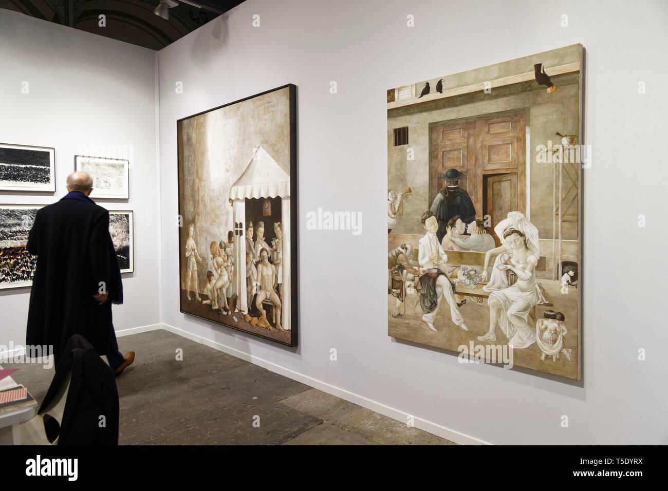 Paris, France. 3th April, 2019. Xiao Guo Hui exibited at Paris Art Fair, Paris, 2019, France. Credit: Veronique Phitoussi/Alamy Stock Photo Stock Photo