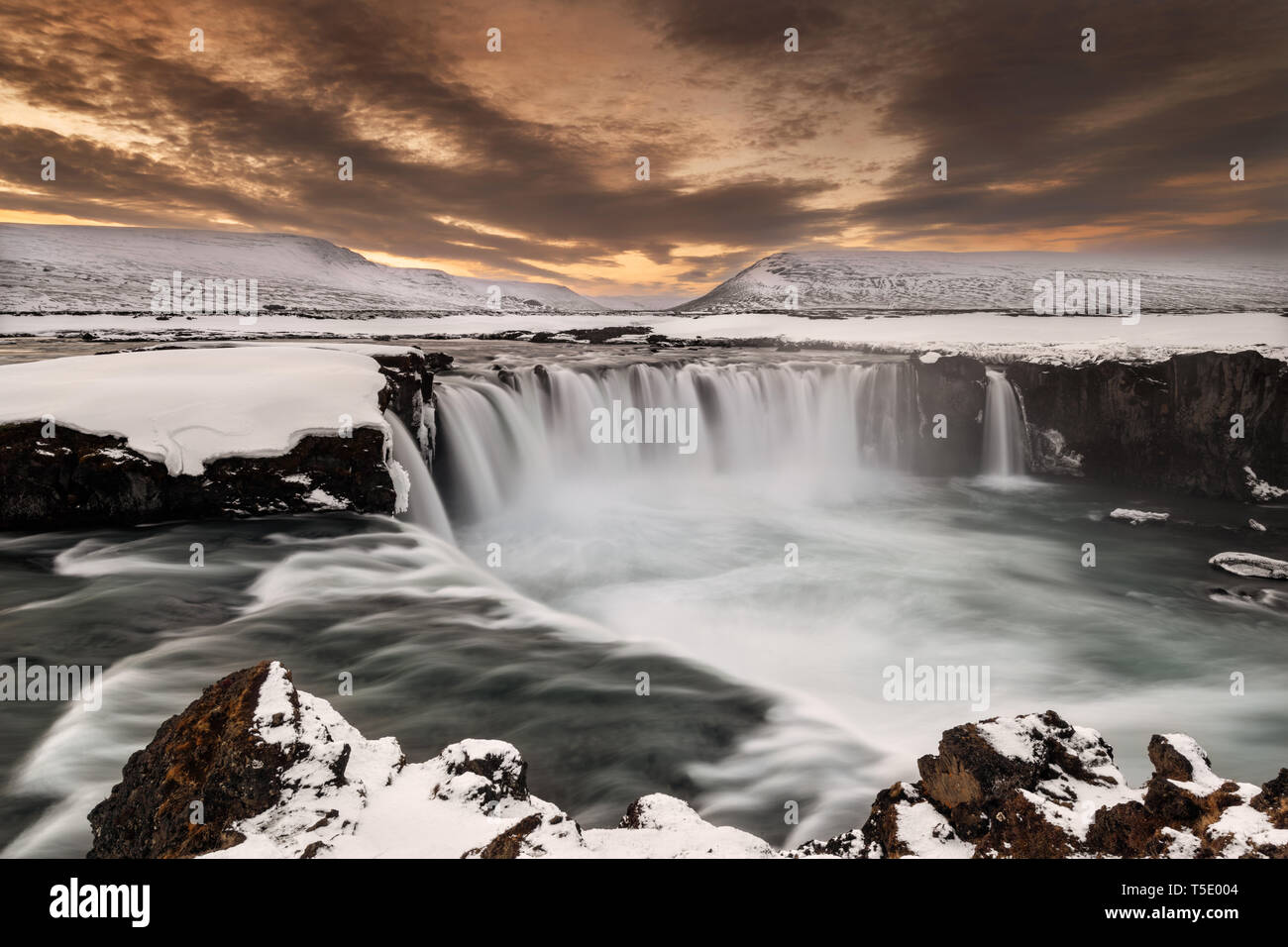 Mighty Goðafoss in evenings twilight. - Stock Image