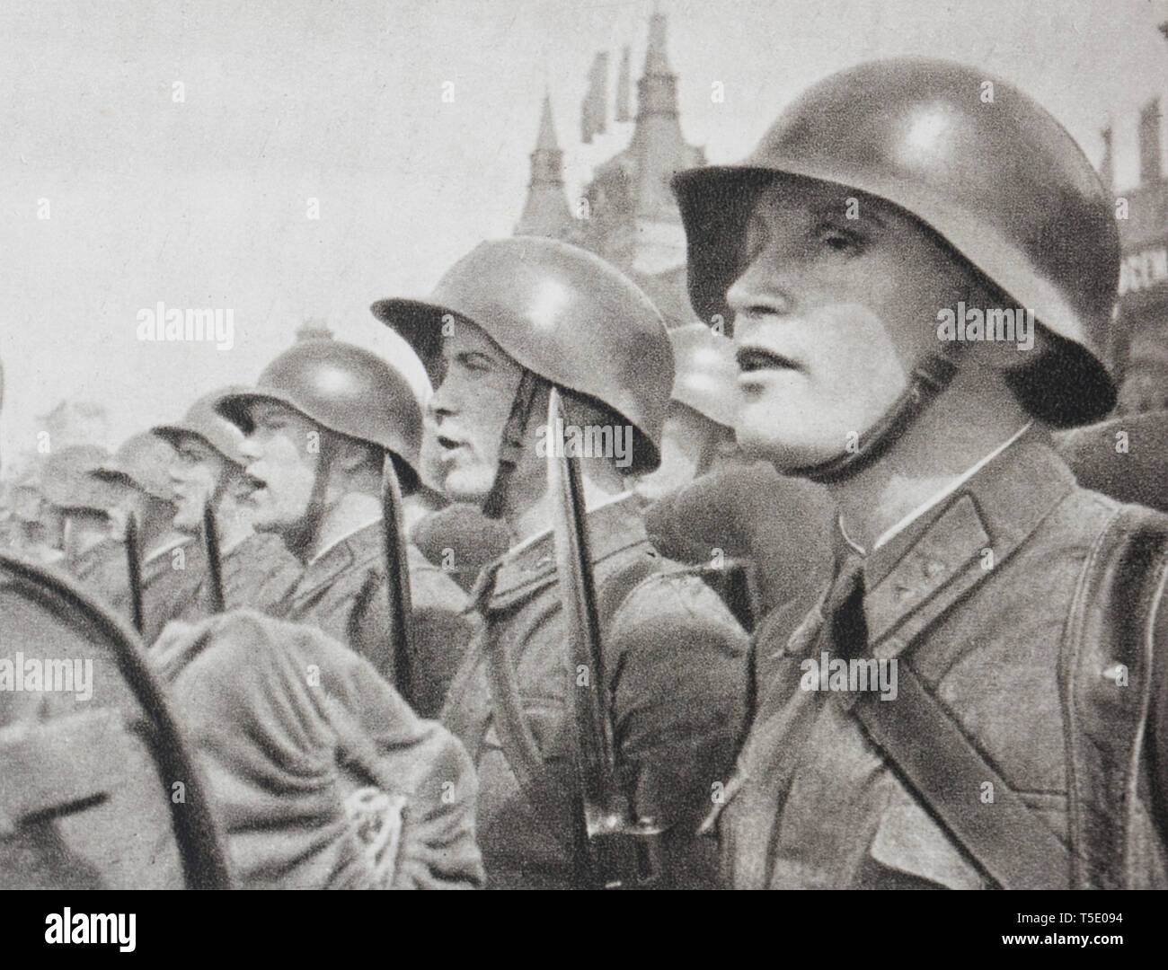 Soldier of Red Armee before sending off to the Winter War (military conflict between the Soviet Union (USSR) and Finland). It began with a Soviet inva Stock Photo