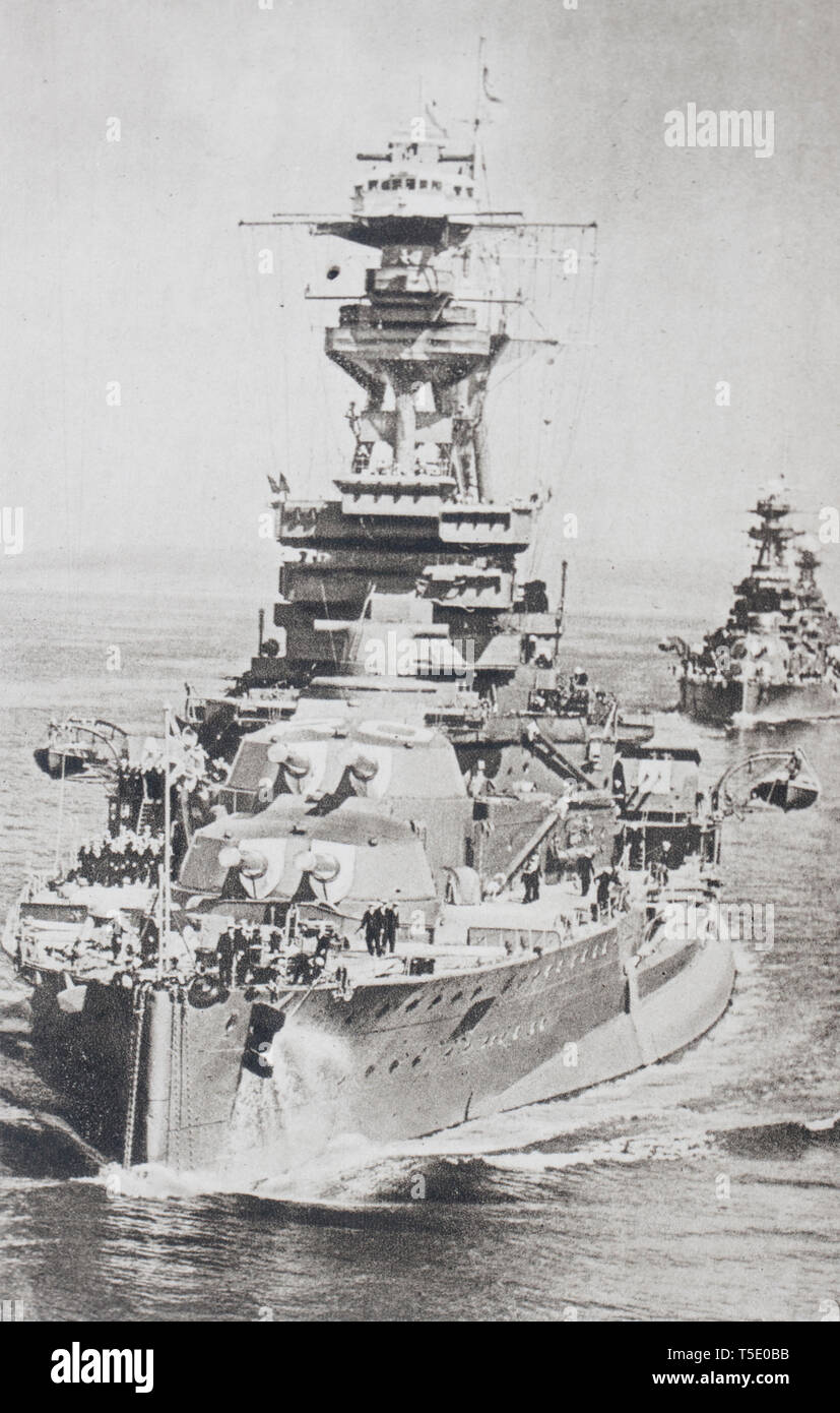 HMS Royal Oak was one of five Revenge-class battleships built for the Royal Navy during the First World War. On 14 October 1939, Royal Oak was anchore - Stock Image