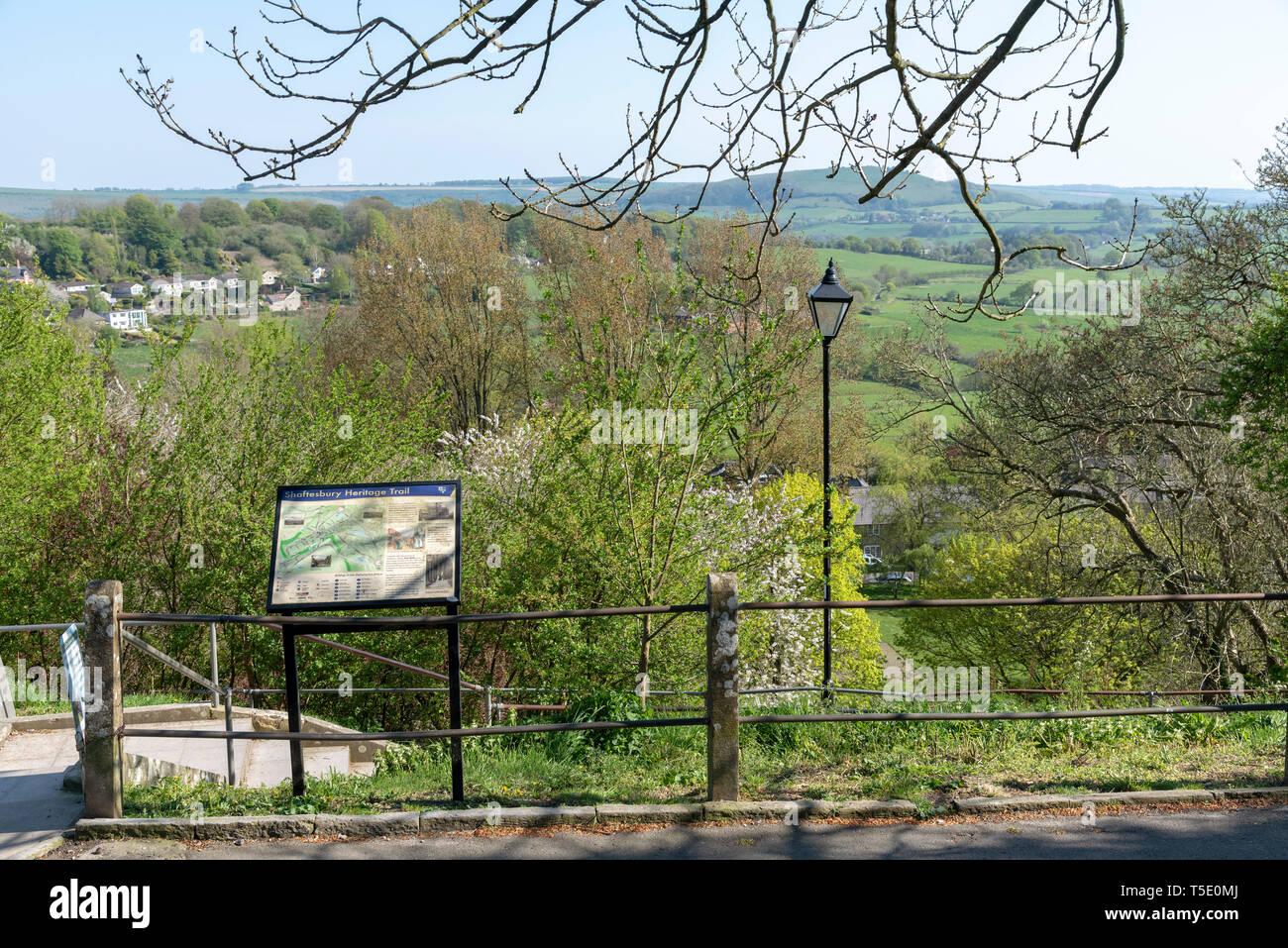 Shaftesbury, Dorset, England, UK. April 2019. The Shaftesbury Heritage Trail. - Stock Image