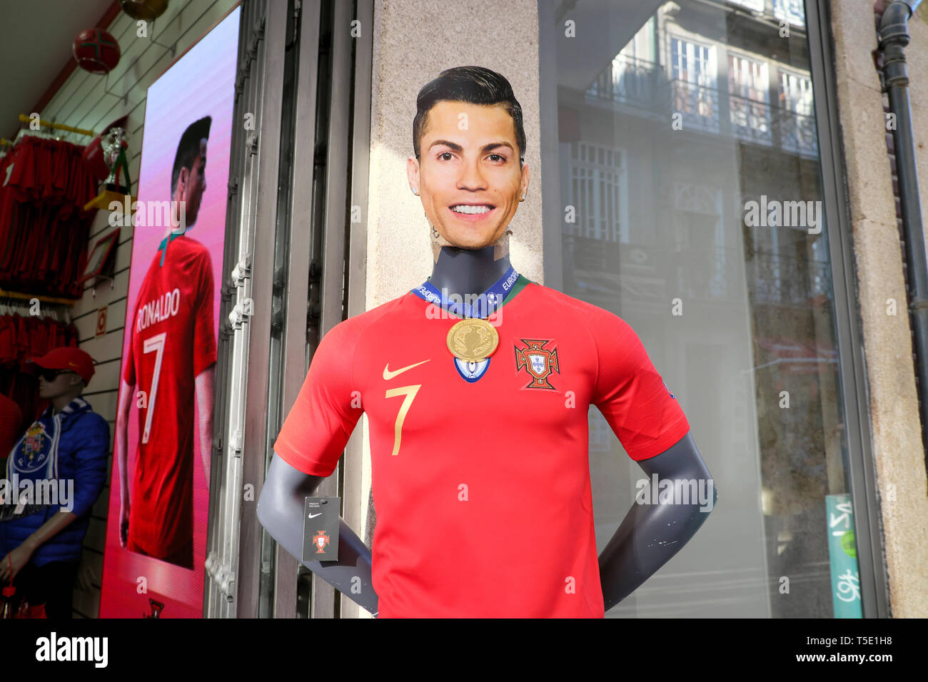 Cristiano Ronaldo Portuguese footballer figure outside a football shop in the city of Porto Portugal Europe KATHY DEWITT - Stock Image