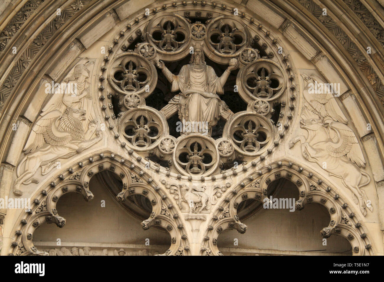 Architectural details on the facade of Cathedral of St. John the Divine in Manhattan, NYC, USA - Stock Image
