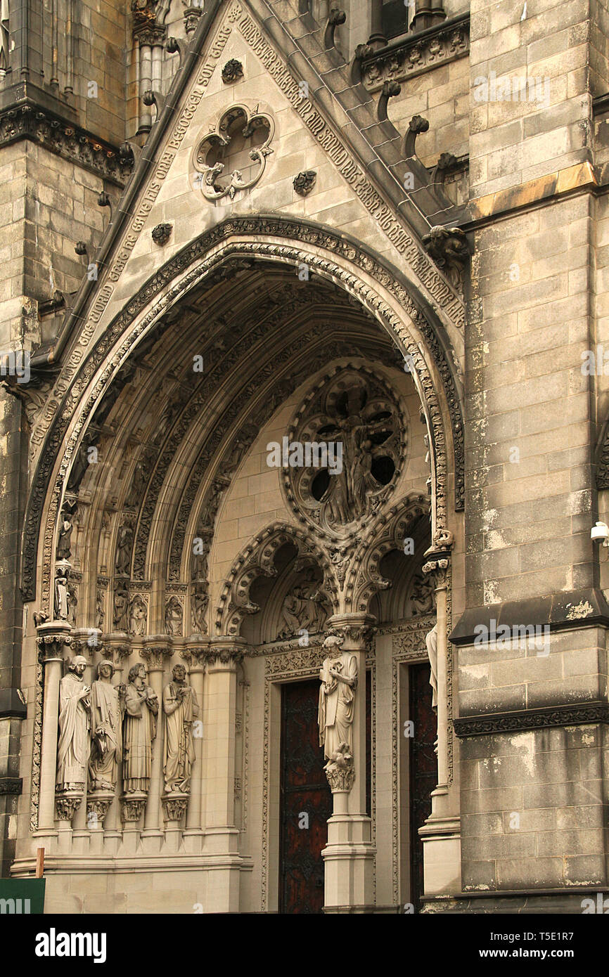 The Cathedral of St. John the Divine. West Portal exterior. Morningside Heights, Manhattan, NYC, USA. - Stock Image