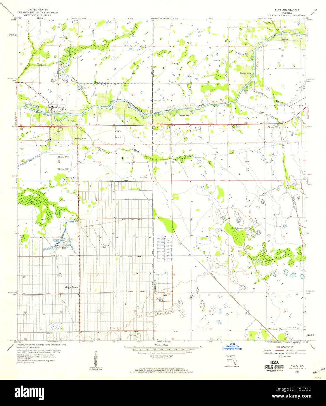 USGS TOPO Map Florida FL Alva 344912 1958 24000 Restoration ... Map Of Al Va on sf va map, sw va map, co va map, ky va map, dc va map, no va map,