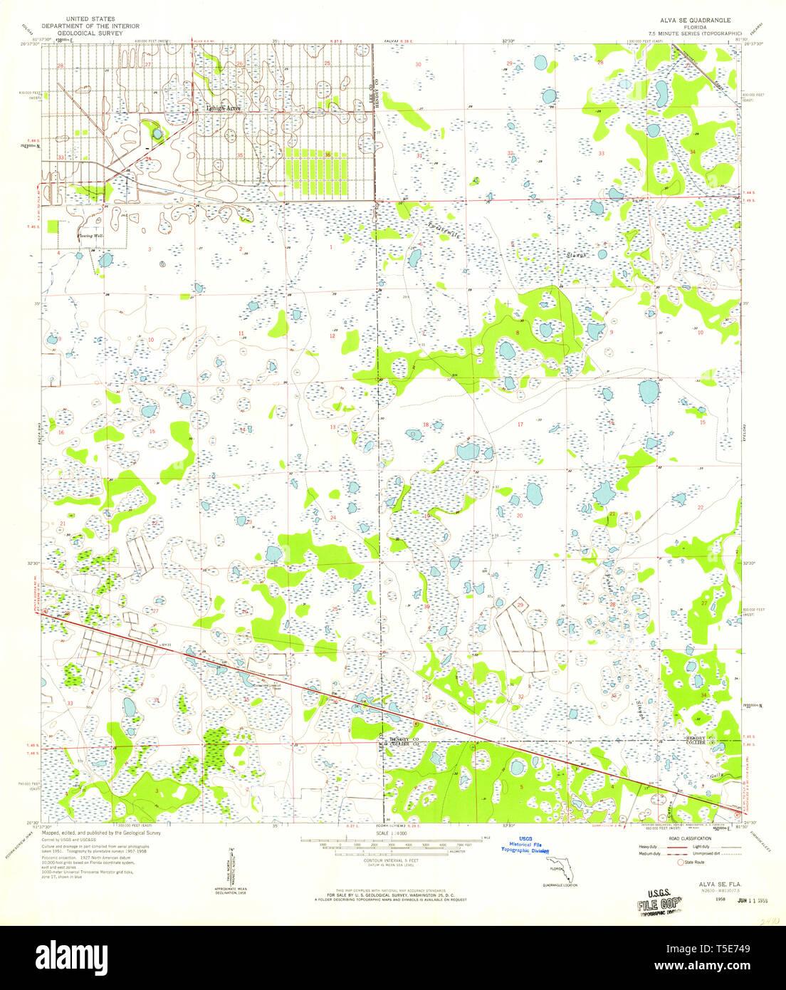 USGS TOPO Map Florida FL Alva SE 344916 1958 24000 ... Map Of Al Va on sf va map, sw va map, co va map, ky va map, dc va map, no va map,