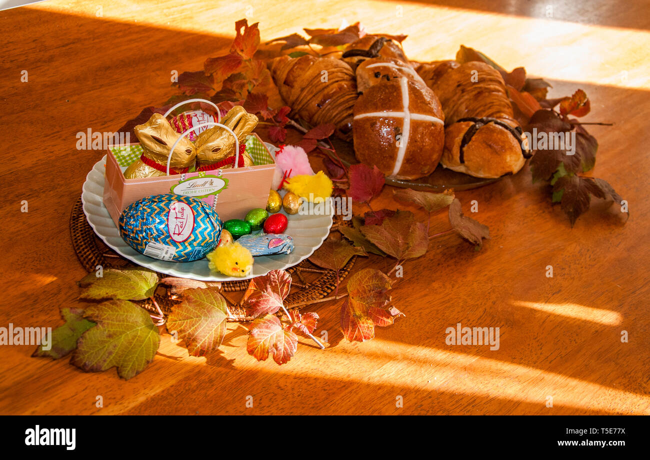 Easter tableau in a family home in Melbourne, Australia Stock Photo