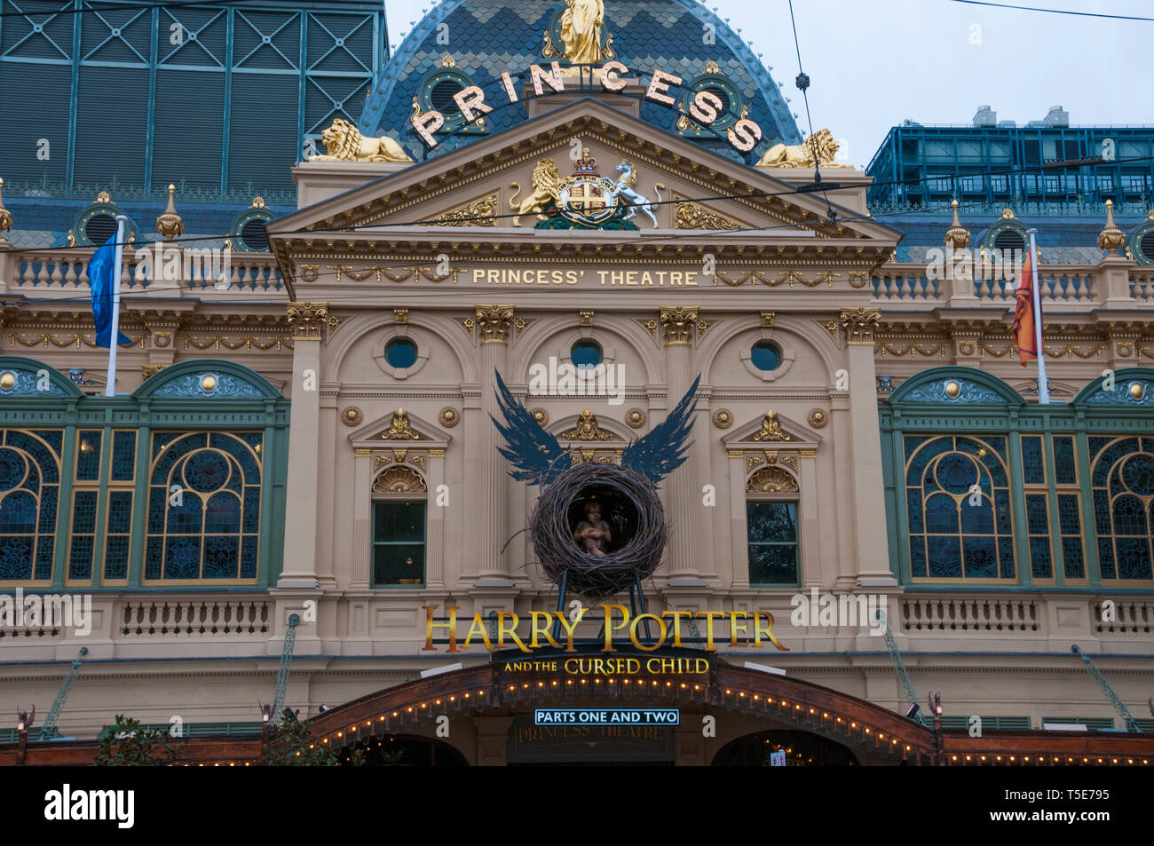The historic Princess' Theatre in Spring Street, Melbourne, showcasing the Australian premiere of 'Harry Potter and the Cursed Child' Stock Photo