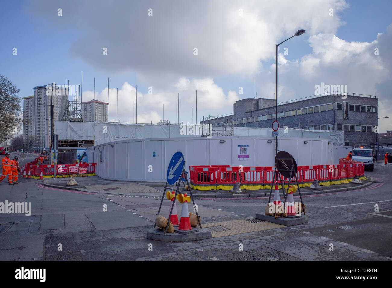 Camden, London, April 2019, work in progress of the construction of the HS2 high speed rail line near Euston on Hampstead Road. - Stock Image
