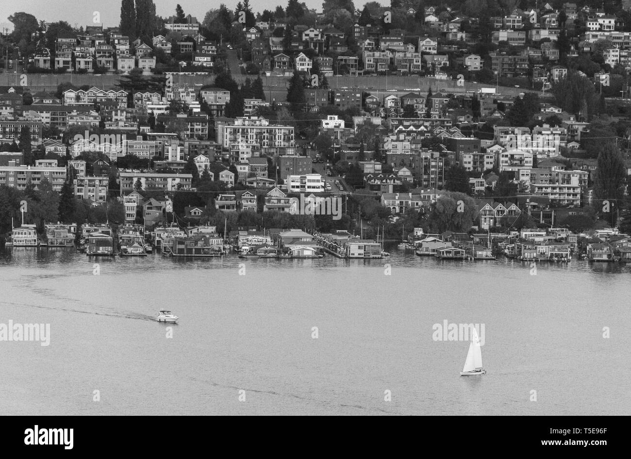 2018-10-20 - Seattle Lake Union photo taken from a rooftop in Westlake - Stock Image