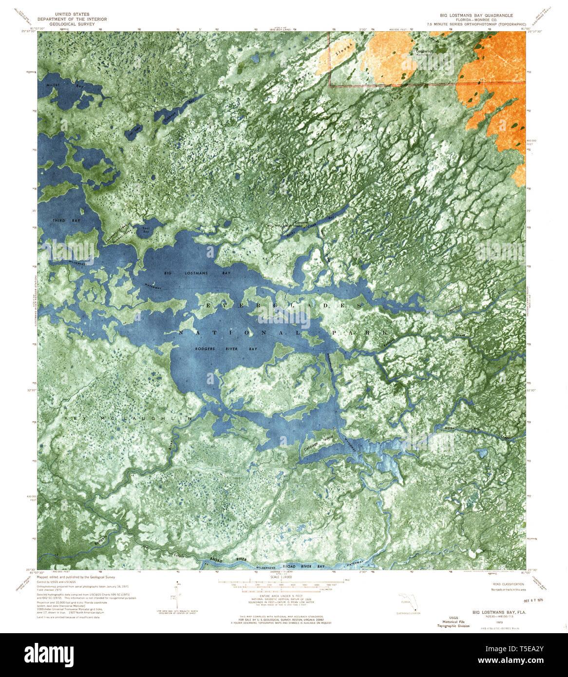 Big Map Of Florida.Usgs Topo Map Florida Fl Big Lostmans Bay 345199 1973 24000