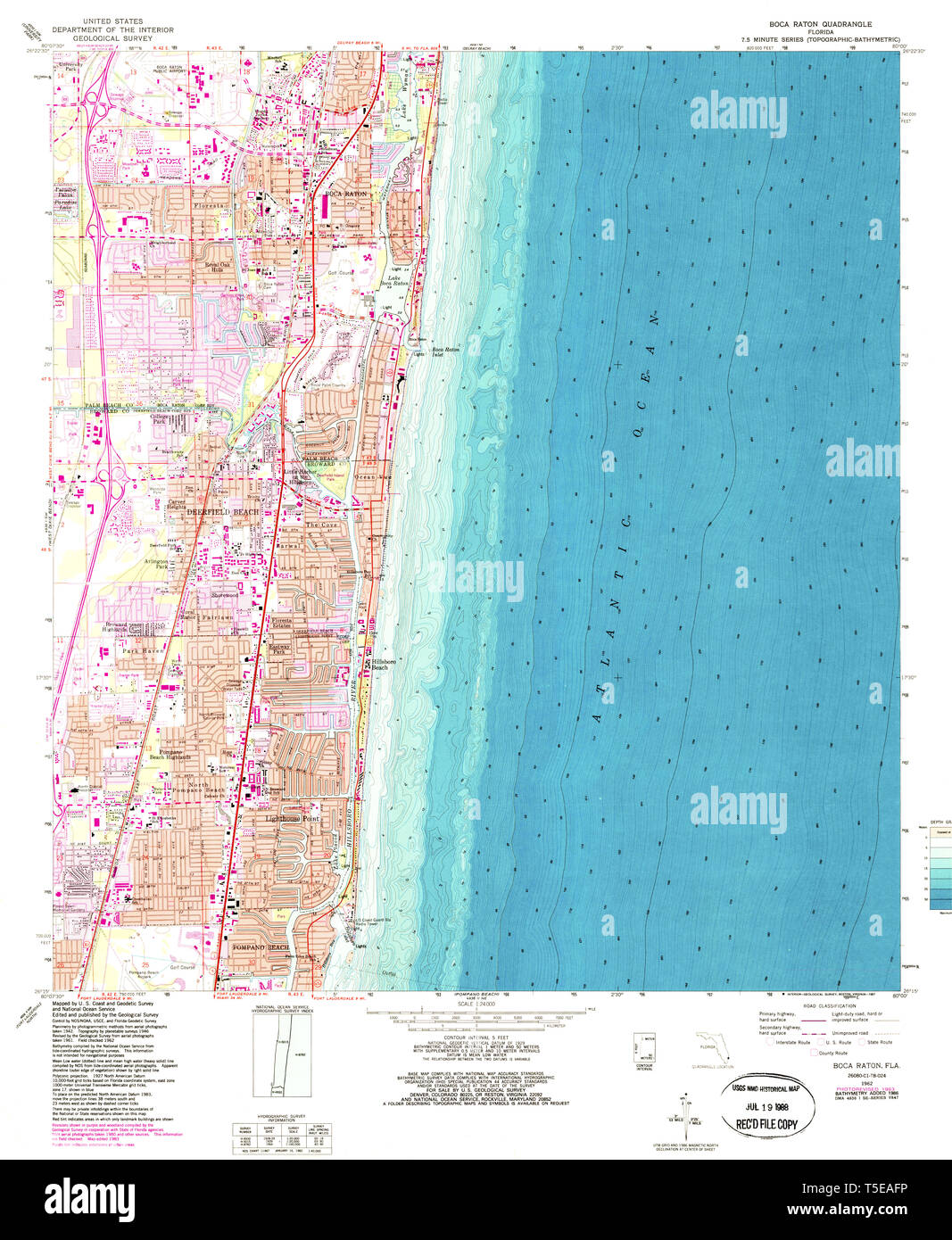 Map Of Florida Showing Boca Raton.Usgs Topo Map Florida Fl Boca Raton 345230 1962 24000 Restoration