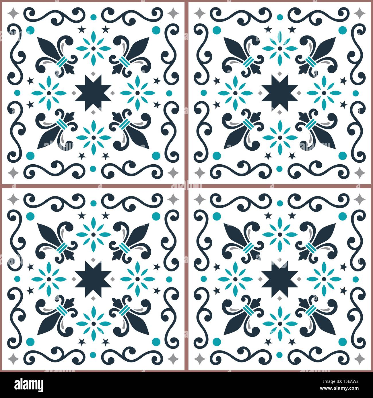 Azulejos seamless vector pattern, Portuguese Lisbon tiles design with fleur de lis, flowers and geometric shapes - Stock Vector