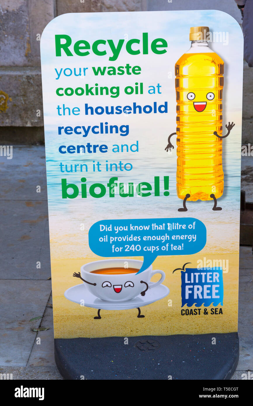 Recycle your waste cooking oil at the household recycling centre and turn it into biofuel sign at Durlston Country Park, Swanage, Dorset UK in April - Stock Image