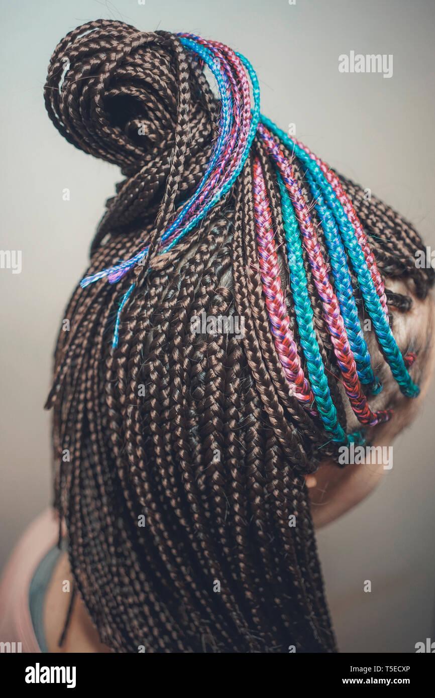 African braids, many thin braids - Stock Image