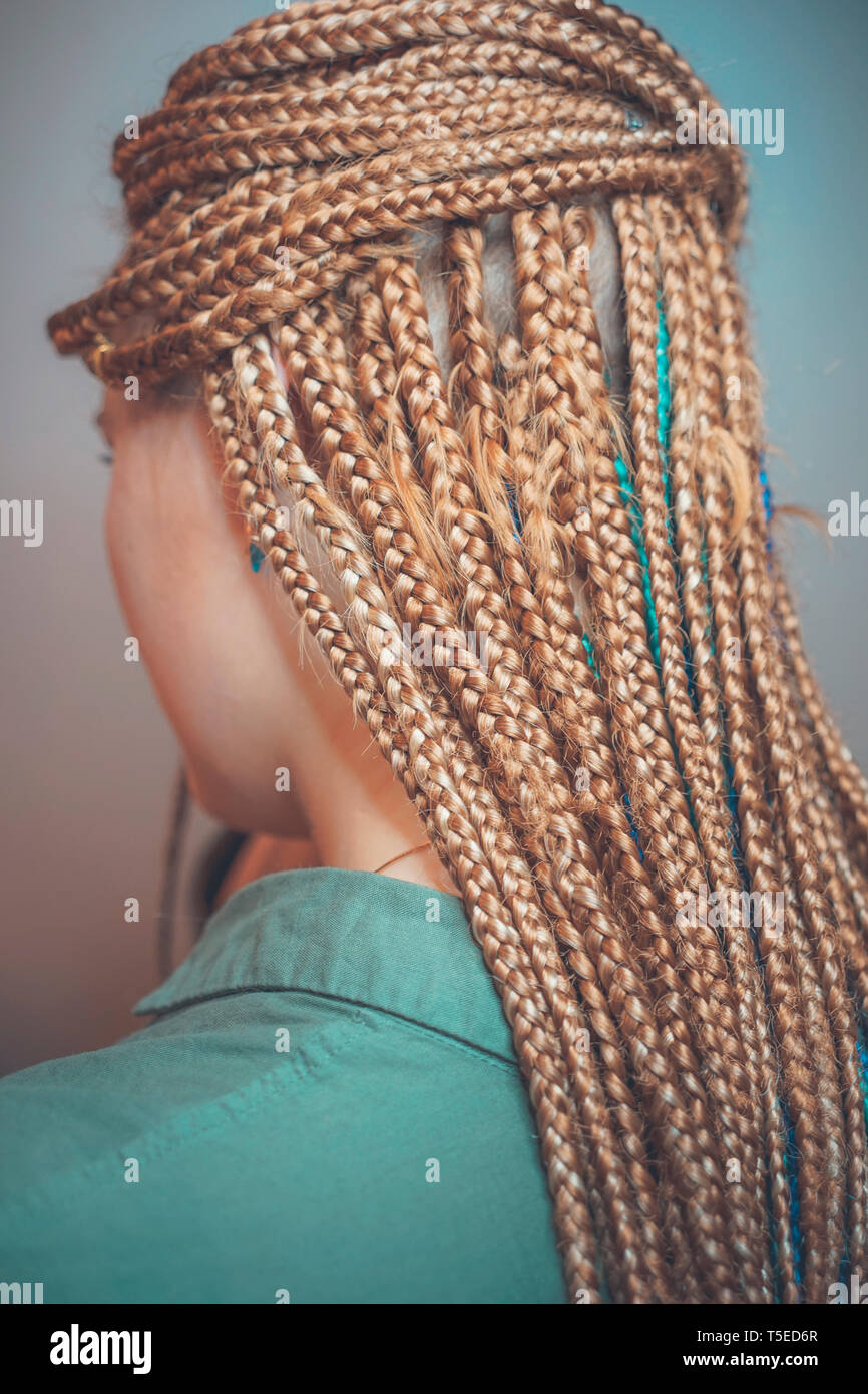 African Braids Many Thin Braids A Month Later Stock Photo Alamy