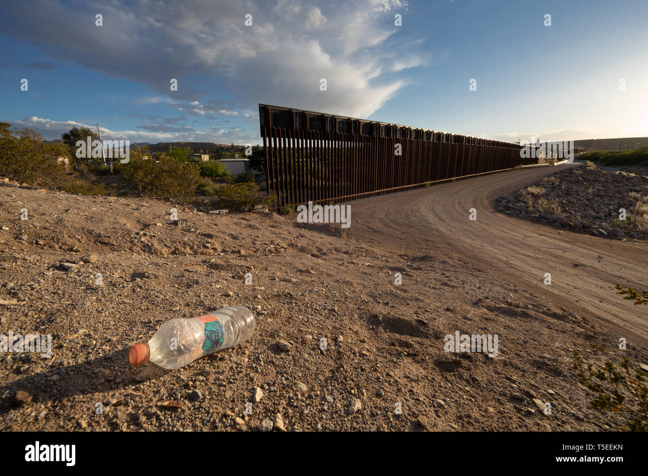 Discarded Water Bottle at the Anapra Gap, a popular crossing point for migrants along the US-Mexico Border near El Paso, Texas Stock Photo