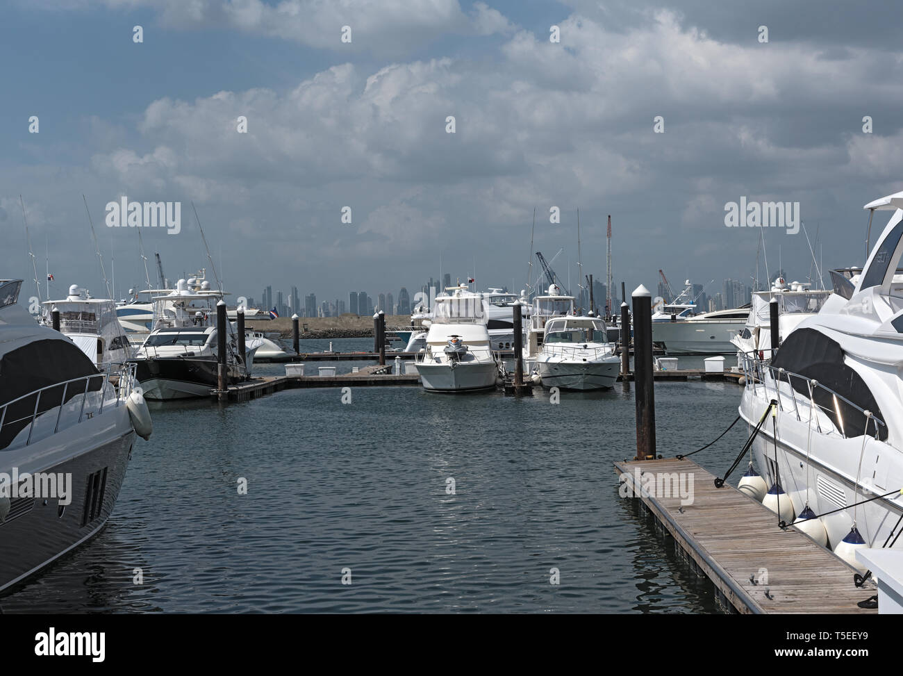 panama skyline of the city from the marina of perico island at the amador causeway - Stock Image