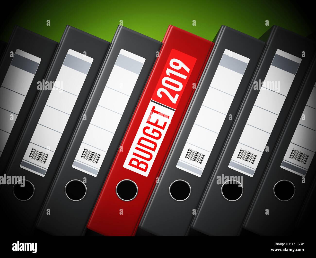 Red 2019 budget folder between black folders. 3D illustration. - Stock Image