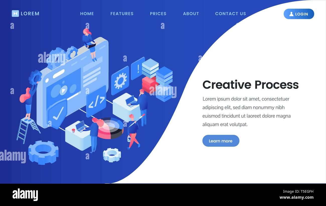 Creative process landing page isometric template. SEO, web ...