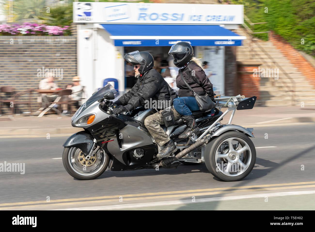 Three wheeled Suzuki Hayabusa GSX1300R at the Southend Shakedown Resurrection motorcycle rally event, Southend on Sea, Essex, UK Stock Photo