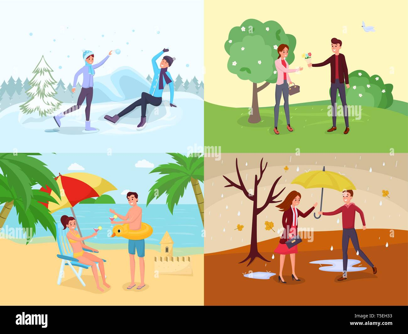 Seasonal outdoor activities flat illustrations set. Winter games, spring landscape, summer holiday vacation vector drawing pack. Man and woman at sea, mountain resort, couple strolling, dating in park - Stock Vector
