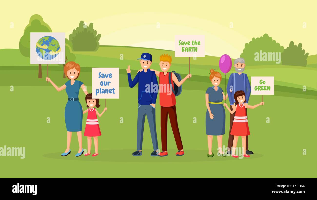 Nature saving protest flat vector illustration. Earth planet protection, eco conservation, environmental issues demonstration, meeting. People with slogans, banners, placards cartoon character - Stock Vector