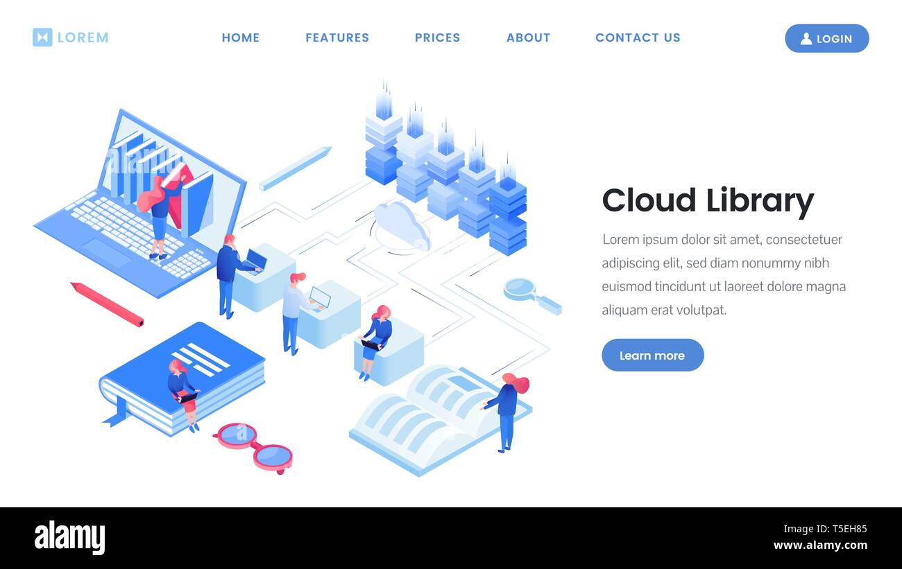 Cloud library service landing page isometric template ...