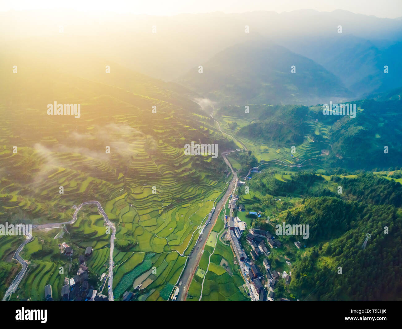 Sunset with Evening light  in Guizhou Province, China. Stock Photo