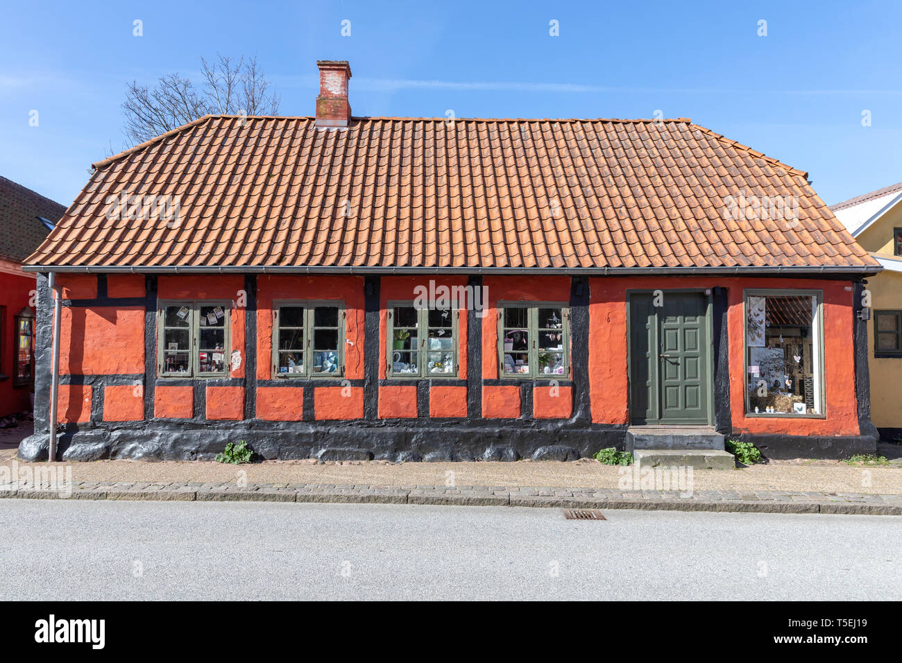Old red and black half-timbered house in Algade, Saeby, in North Jutland, Denmark Stock Photo