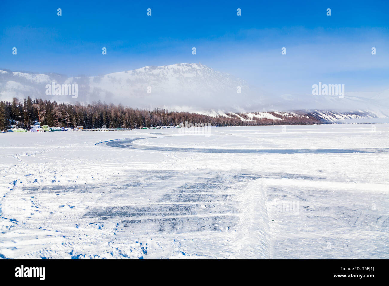 view of Kanas Lake Forest in Winter,xinjiang,china - Stock Image