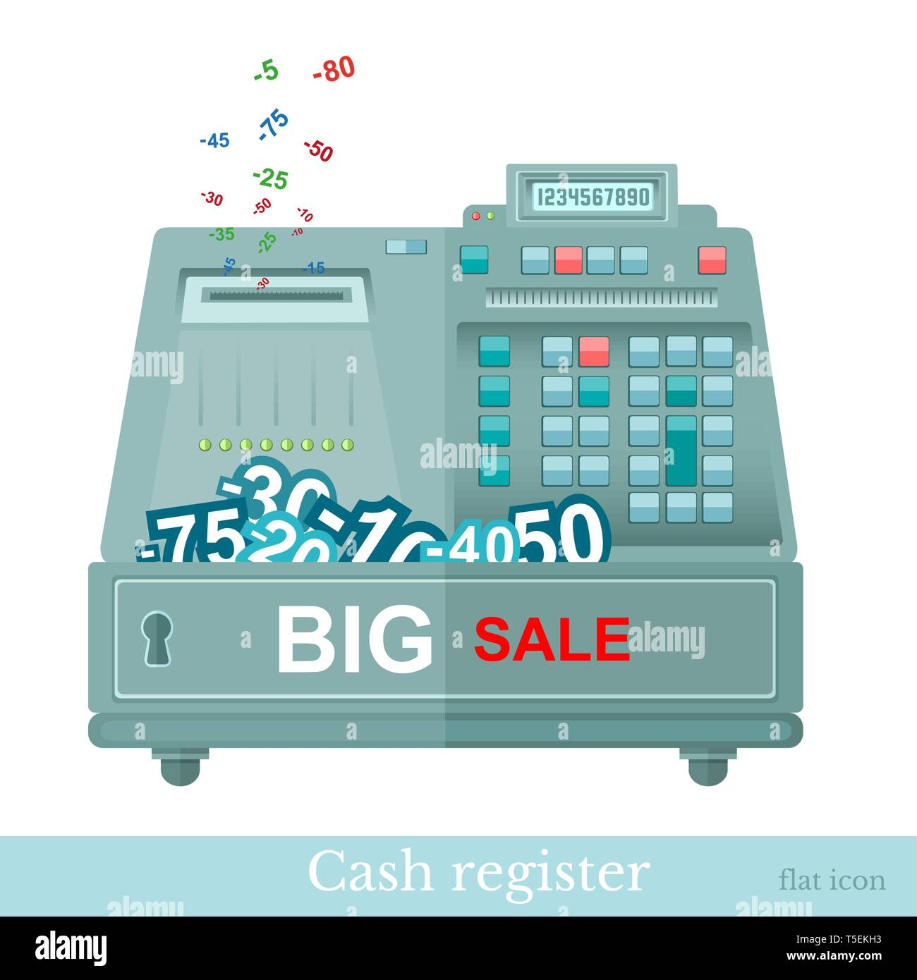 flat cash register big sale with numbers - Stock Vector