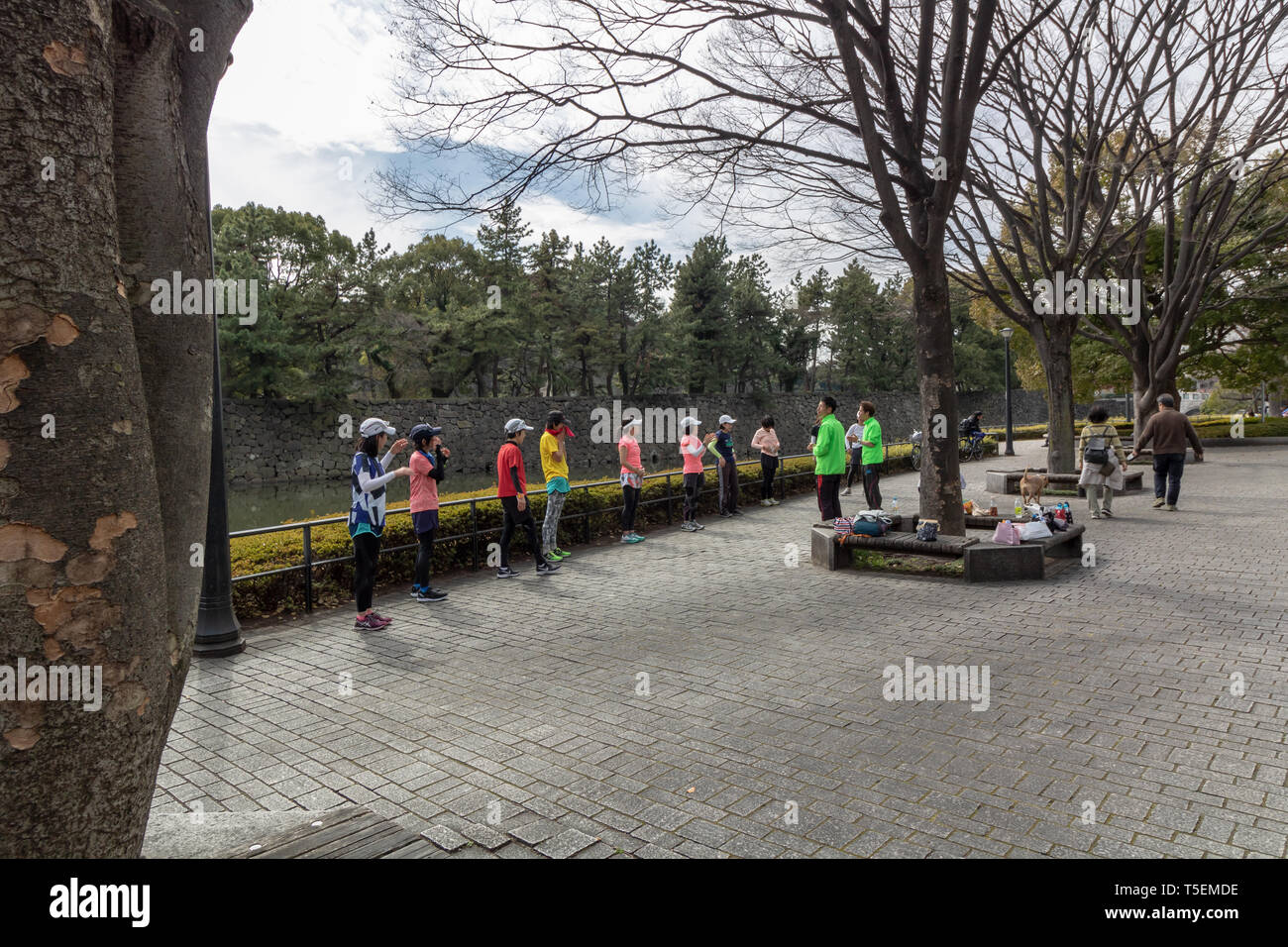 The area close to the Imperial Palace is the most popular jogging area among the locals. People love to jog in Tokyo! - Stock Image