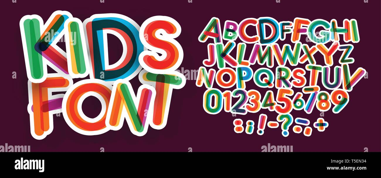 Kids letters and numbers set  Bold, colorful vector latin alphabet