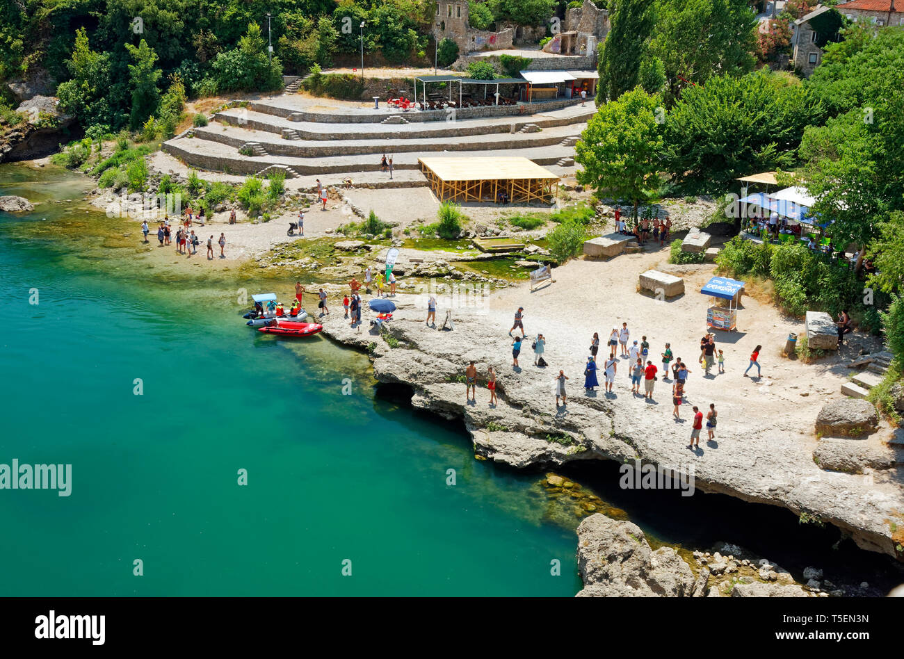 Neretva River overview; people, inflatable dinghies, activity, Mostar; Bosnia Herzegovina; Europe; summer, horizontal - Stock Image