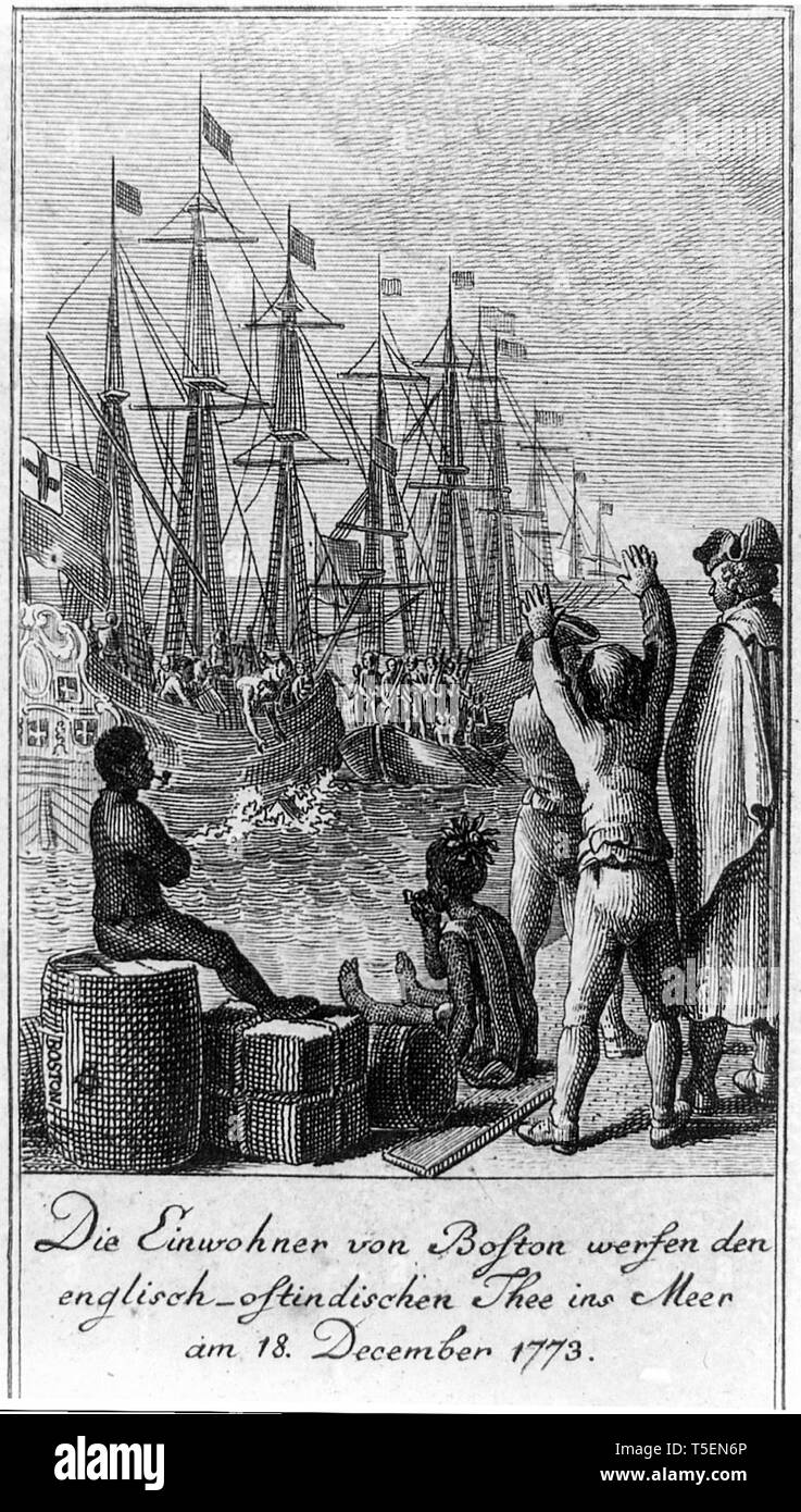 The residents of Boston throw English East India Company tea into sea on December 16th 1773, Boston Tea Party Stock Photo