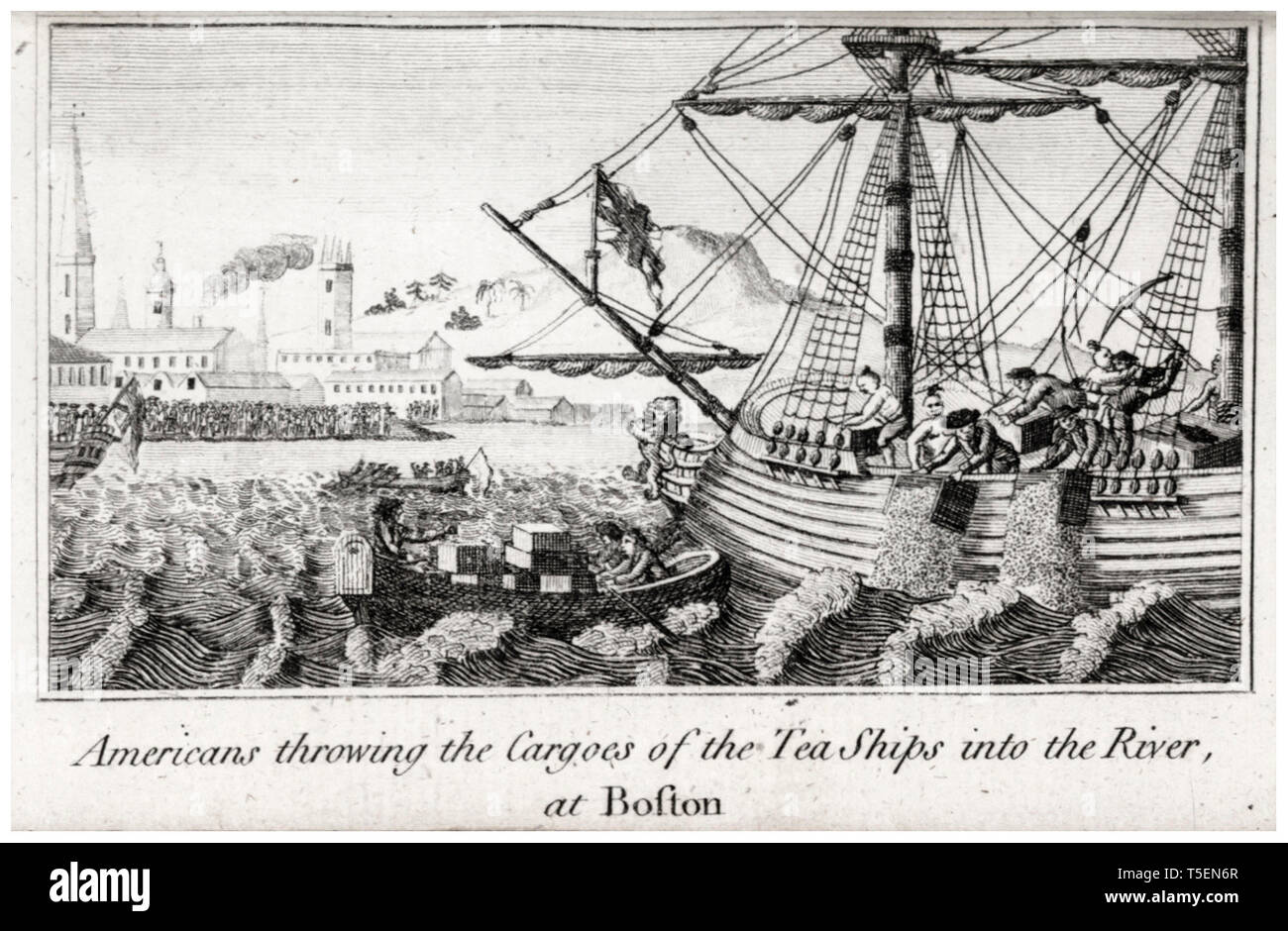 Americans Throwing the Cargoes of the Tea ships into the River, Boston Tea Party engraving by W.D. Rev. Mr. Cooper, 1789 Stock Photo