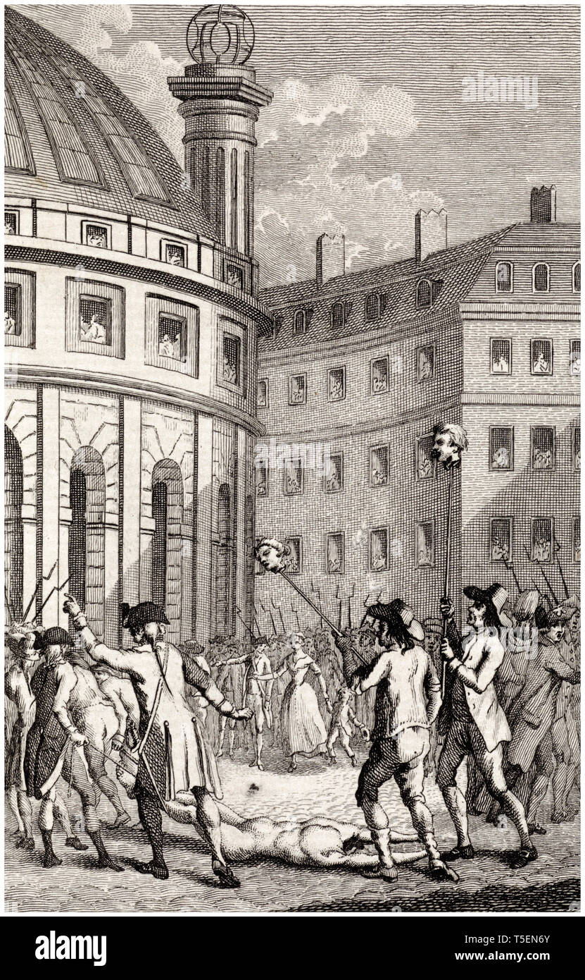 French soldiers carry the heads of de Launay and de Flesselles through the streets of Paris after the storming of the Bastille by Daniel Friday, 1791 etching Stock Photo