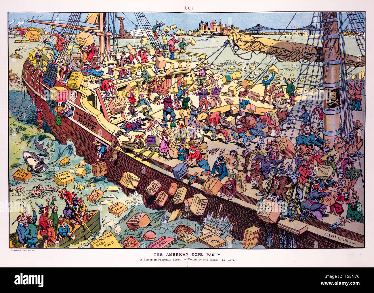 The American dope party, Puck Magazine's cartoon of the Boston Tea Party by Albert Levering, print, 1906 Stock Photo