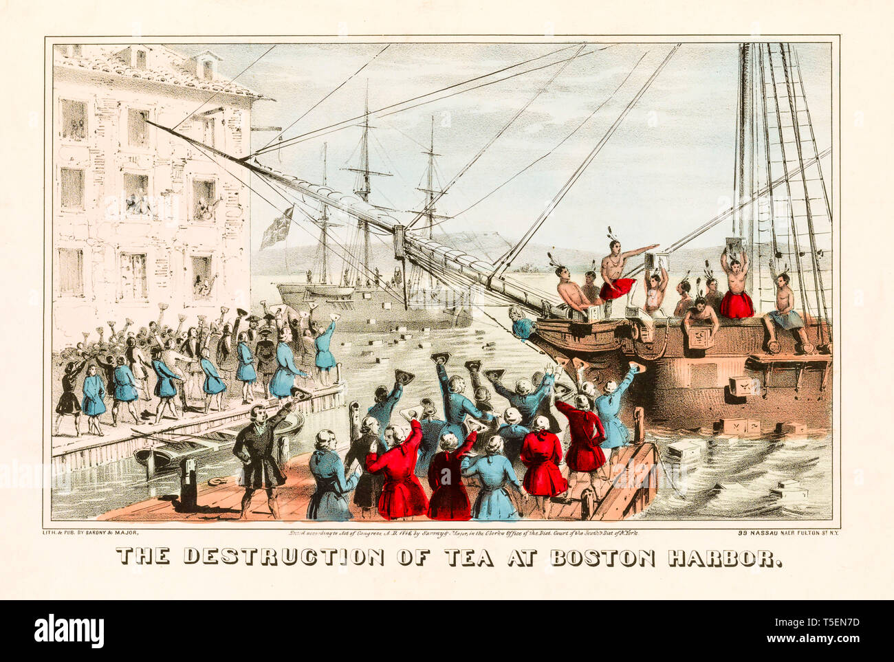'The Destruction of Tea at Boston Harbor', hand coloured engraving of the Boston Tea Party, December 16th 1773,  print made in 1846 - Stock Image