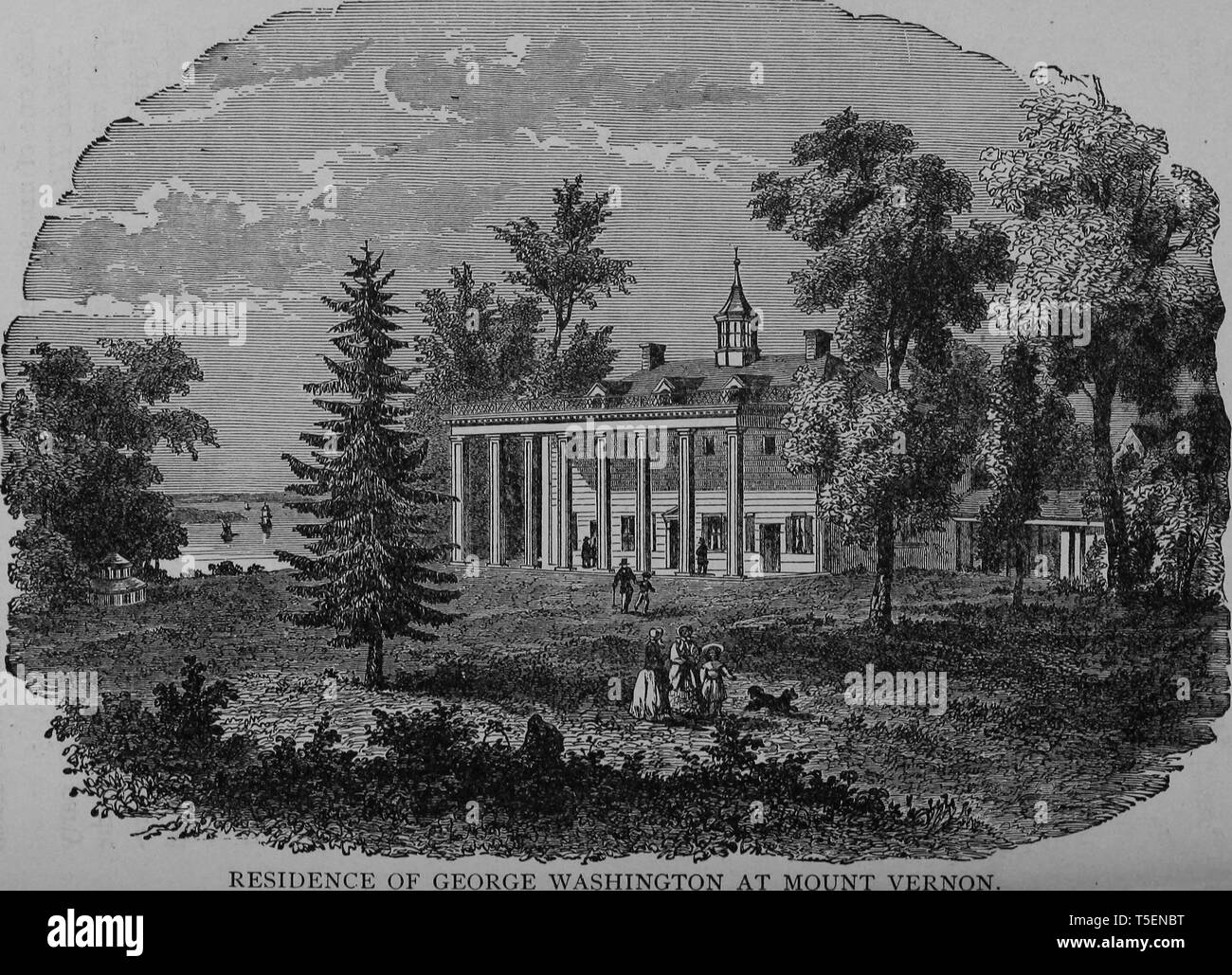 Engraving of George Washington's residence at Mount Vernon, Fairfax County, Virginia, from the book 'The political history of the United States' by James Penny Boyd, 1888. Courtesy Internet Archive. () Stock Photo