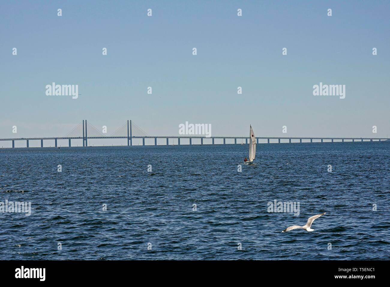 The Oresund Bridge crossing the Oresund Strait, connecting Copenhagen Denmark and Malmo Sweden, its the longest combined road and rail bridge in Europ Stock Photo