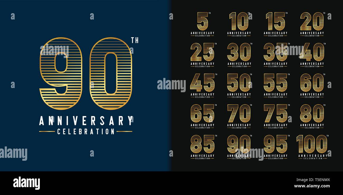 Set Of Anniversary Logotype Golden Anniversary Celebration Emblem