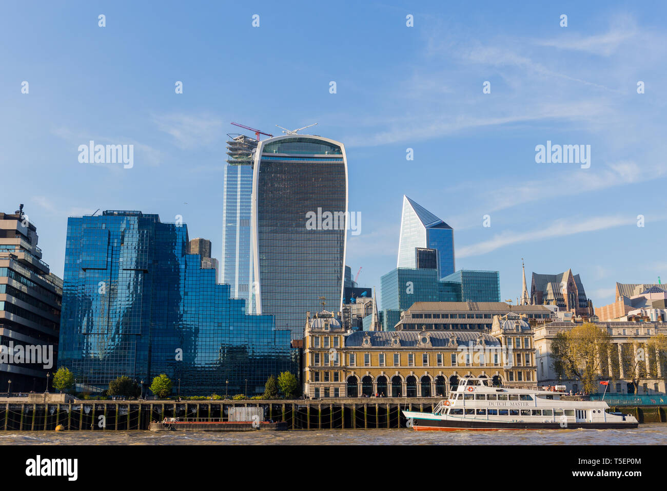 England - April 20, 2019 : Sky garden with Dutch Master bost on Thames River. - Stock Image