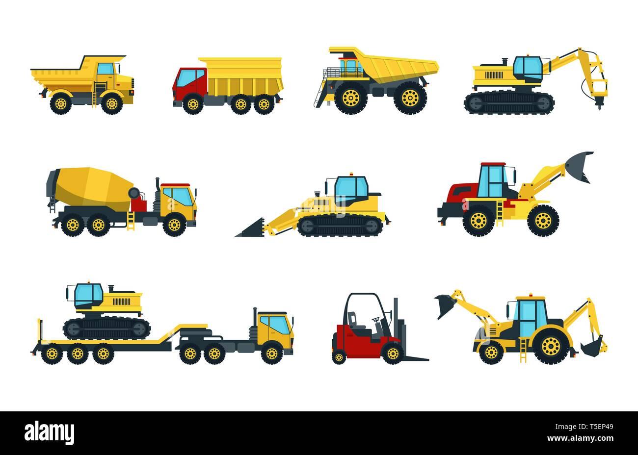 Truck, bulldozer, mixer, roller, dumper, excavator - Stock Vector