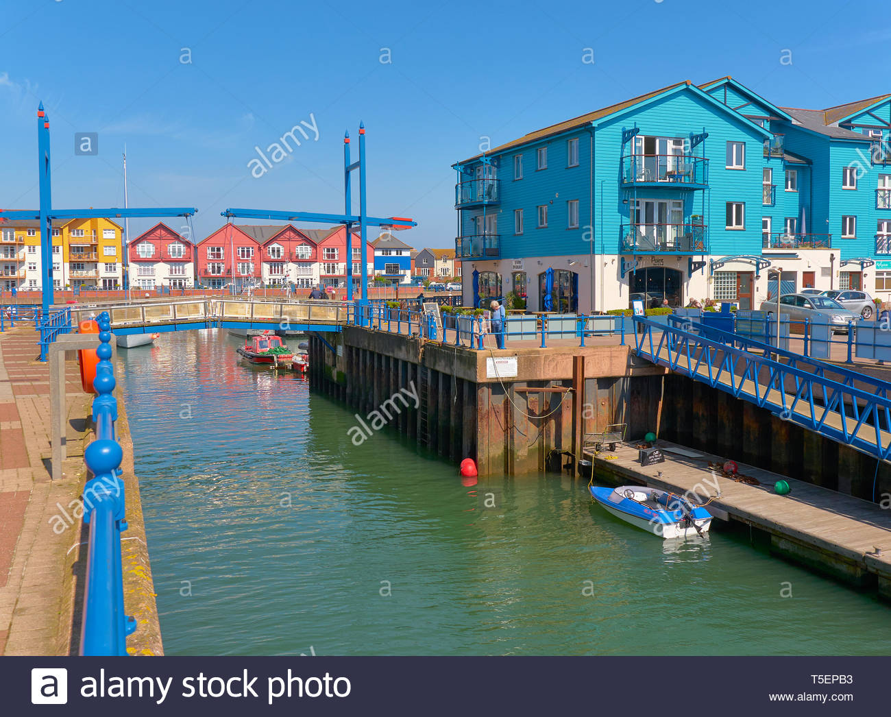 The exe estuary leading into exmouth marina in south devon in england uk - Stock Image