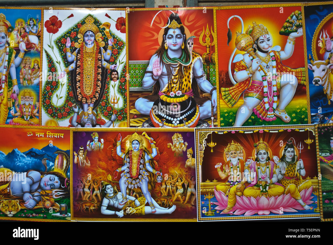 Posters on sale. They are representing hindu deities ( India) Stock Photo