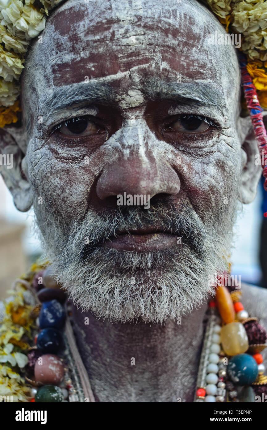 Hindu ascetic ('sadhu') from the Naga sect ( India) - Stock Image