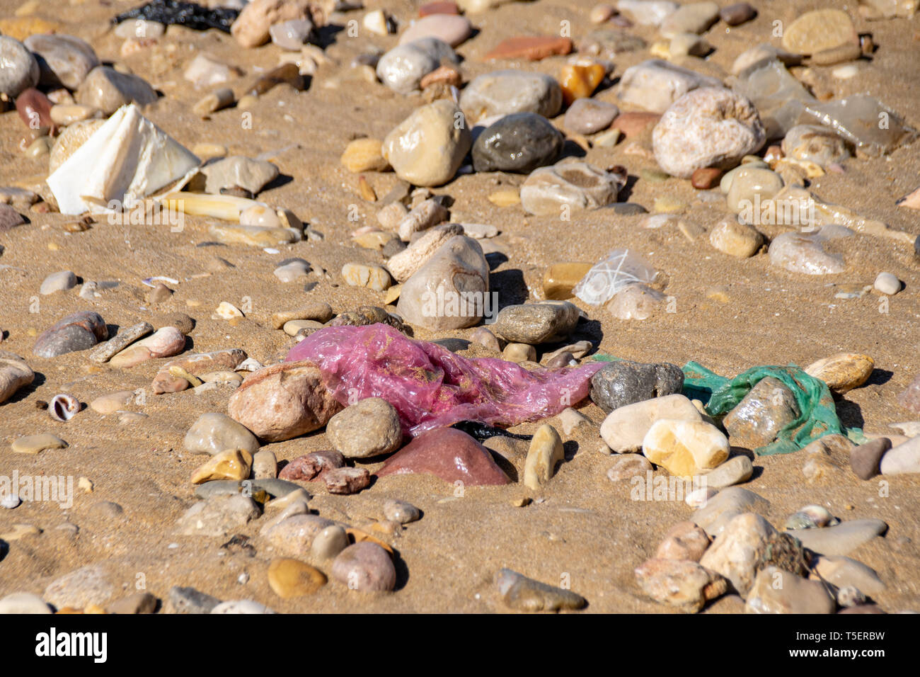 Plastic bags washed up from the Atlantic Ocean sand beach shoreline in Agadir, Morocco Stock Photo