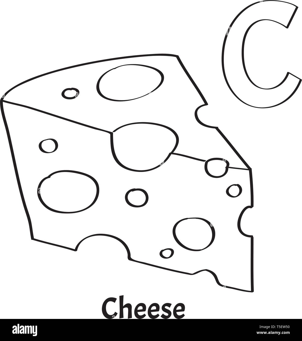 Vector alphabet letter C, coloring page. Cheese Stock Vector ...